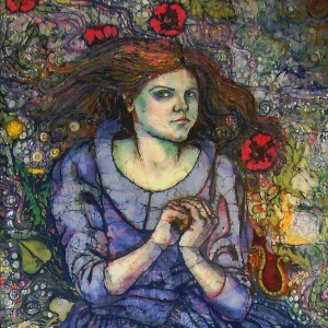 Self portrait  as Ophelia, batik on cotton, embroidered and quilted.