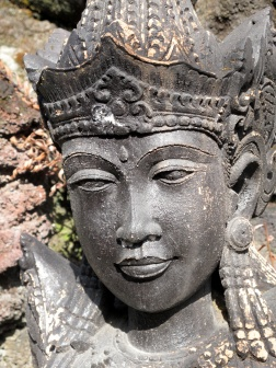 Carved head at Temple Entrance