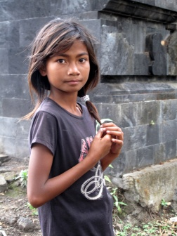 Girl at the Temple by Lake Batur