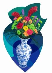 Blue and white vase.