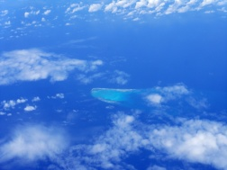 Coral seen from plane in the South China Sea .