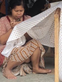 Batik in progress, Giriloyo Village, another batik hamlet.