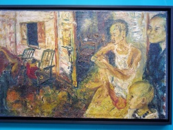 Painting by a poor friend of Affandi's made with donations of paint and scraps of Jute and Canvas from Affandi.