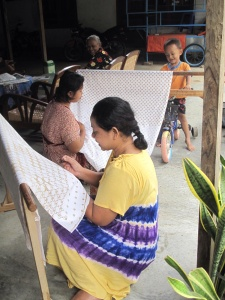 Mrs Siti in Giriloyo village, part of a batik cooperative run by women.