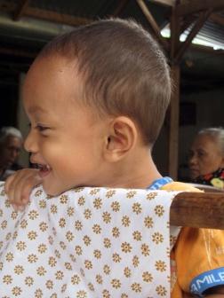 Little boy in Giriloyo batik Village.