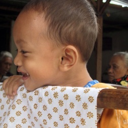 Little boy in Giriloyo batik Village.