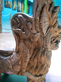Detail of carving by Nyoman Tjokot , side of chair.