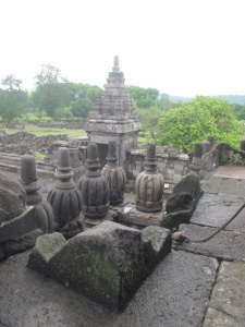 View from up on the main Temple at Prambanan.