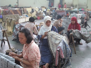Behind the scenes, batik creation, mass production.