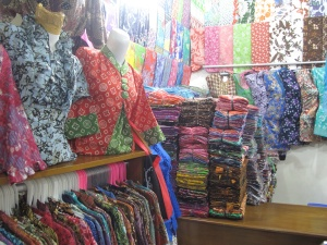 Stand filled with all things batik semi authentic  and printed.