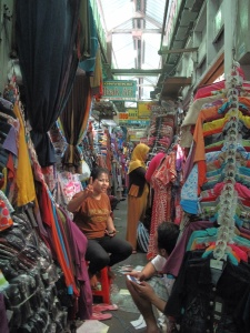 The narrow aisles of the local market.