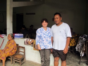 With Mr Joko, in his studio courtyard.