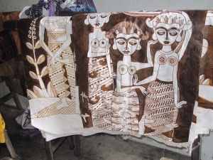 One of Joko's batiks ready for first dye colour.