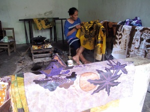 Joko's batiks piled and ready for dyeing.