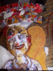 Batik collage and acrylic , by Bambang Darmo.