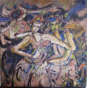 Dancers by Bambang Darmo, batik and acrylic on soft canvas.