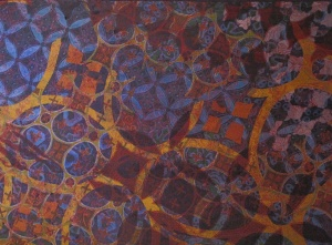 Detail of batik collaboration by Agus, Nia, and the Salish Indians.