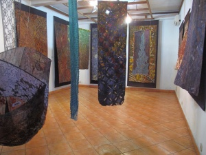 The Brahma Tirta Sari Gallery, with Agus' and Nia's batik collaborations.