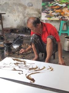 First minute of a new batik by Aprat Koeswadji.