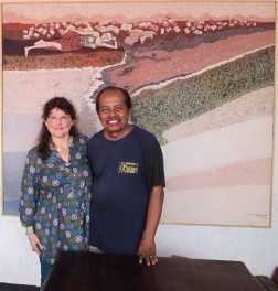 Slamet Riyanto and I in front of one of his huge batiks, recently exhibited in Jakarta.