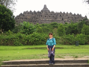 Before the climb , Borobudur from a distance.