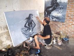 Aprat in his studio