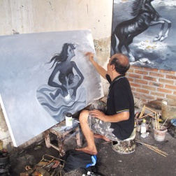 Aprat in his studio