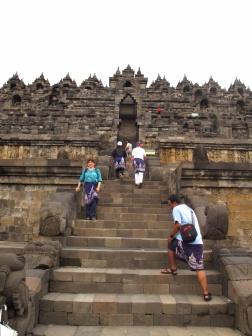 Up the steps of Borobudur