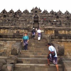 Up the steps of Borobudur