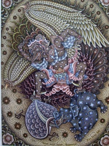 """Garuda and the Battling of the Beasts"",1953, by I Gusti Ngurah Ketut Kobot, Tempera on Canvas  100 cm x 75 cm"