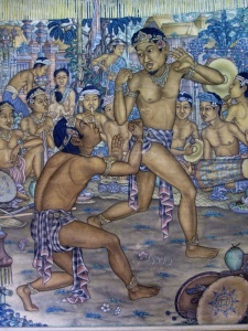 """Self Defence Dancers"" by  I Wayan Turun, Tempera on cloth 1962 120 cm x 100 cm."
