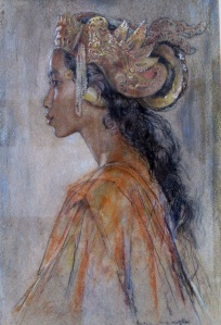""" Portrait of miss Gusti Nyoman "" by Willem G Hofker, 1943. Study of a young Balinese Dancer."