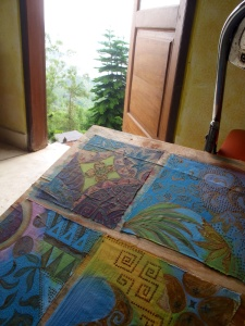 Studio with a view. Batik art sketches by Marina Elphick, UK batik artist.