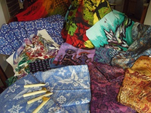Selection of some of the beautiful batiks I bought in Java.