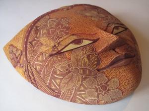 Batik on wooden mask, by  Arra Trisno.