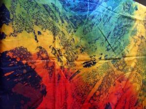 Large abstract batik by Tatang Elmy Wibowo.