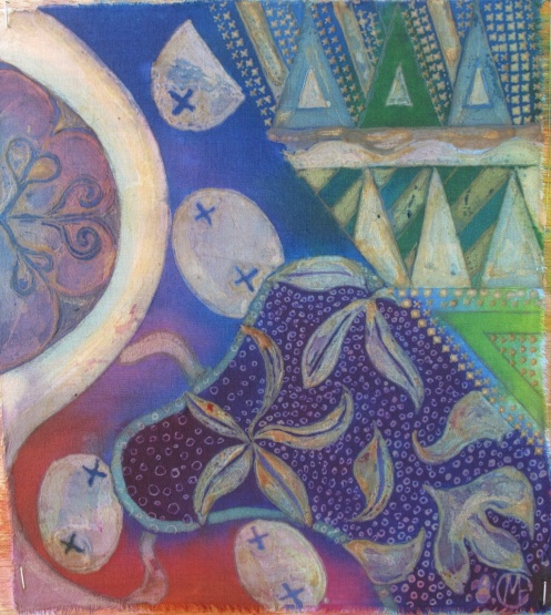 Batik design awaiting its final contrast dye.
