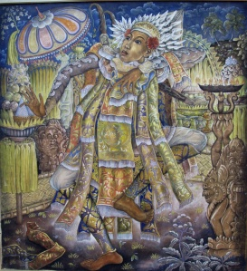 """Warrior's Divine Energy"", by Anak Agung Sobrat 1960s. Tempera on canvas, 120 x  130cm.  The Baris dance depicts the various moods of a Balinese warrior, such as courage, alertness, swiftness and energy. A good dancer has a ""taksu"", a divine energy, giving the performance additional power and life."