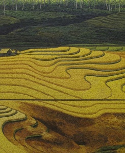 """Golden Rice"",  by Made Kedol, 2013 3 x 300cm x 120cm"