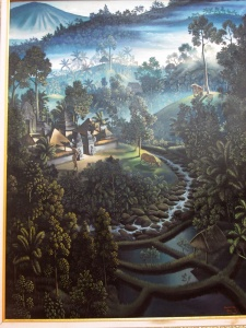 """Village Landscape"", by I Gusti Agung Wirinata . Influenced by Walter Spies' dramatic use of light and shadow."