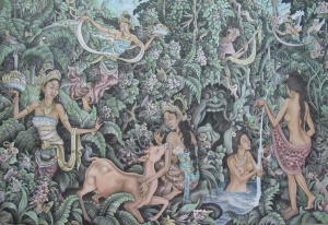 """Rajapala steals Sulisih's clothes"", by Ida Bagus Rai,  1987, acrylic and Chinese ink on canvas. 135cm x 251cm"