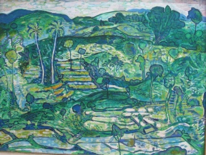"""Landscape"", by Arie Smit, oil on canvas 1993. 70cm x 93cm."