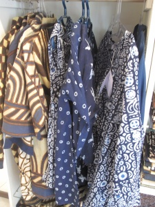 Hand made batik clothing for sale in the Threads of Life shop.