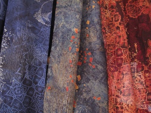 Batik scarves by Agus Imoyo for sale in the Threads of Life shop.