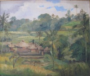 """Irrigation  Temple"",  by Dullah 1973, oil on canvas, 50cm x 60cm. Irrigation Temples are common in Bali, dedicated to water and rice fields, so important to Balinese life."