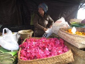 Petals for sale as offerings.