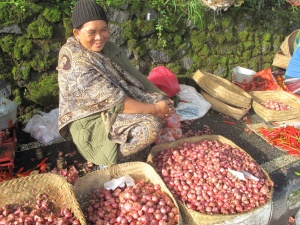 A lady selling garlic.