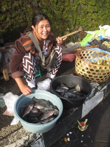 Lady selling fish from Lake Batur.
