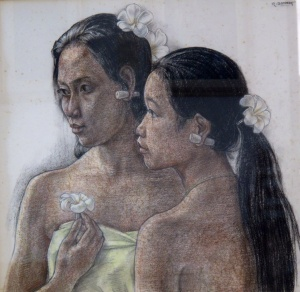 """The Girls Ni Nyoman and Ni Ketut"", 1976 by Rudolf Bonnet, Dutch.    Traditionally first and second born children in Bali are named Wayan and Made, while third and fourth are called Nyoman and Ketut. The prefix ""Ni"" is for female and "" I "" is for male."