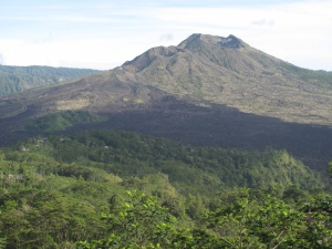 Agung Batur, Kintamani's active volcano with three vents.